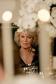 Washington, D.C. - November 2, 2005 -- Camilla, Duchess of Cornwall, listens as United States President George W. Bush offers a toast at a Social Dinner in honor of her and Charles, Prince of Wales in the State Dining Room of the White House in .Washington, D.C. on November 2, 2005. .Credit: Jay L. Clendenin - Pool via CNP.(Restriction: No New York Metro or other Newspapers within a 75 mile radius of New York City)