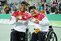(L-R)<br /> Shingo Kunieda,<br /> Satoshi Saida (JPN),<br /> SEPTEMBER 15, 2016 - Wheelchair Tennis : <br /> Men's Doubles Medal Ceremony<br /> at Olympic Tennis Centre<br /> during the Rio 2016 Paralympic Games in Rio de Janeiro, Brazil.<br /> (Photo by Shingo Ito/AFLO)