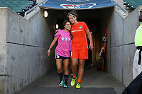 Cary, North Carolina  - Saturday September 09, 2017: Samantha Witteman, Sarah Hagen prior to a regular season National Women's Soccer League (NWSL) match between the North Carolina Courage and the Houston Dash at Sahlen's Stadium at WakeMed Soccer Park. The Courage won the game 1-0.