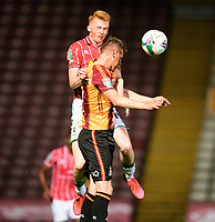 Lincoln City's Callum Morton battles with Bradford City's Paudie O'Connor<br /> <br /> Photographer Chris Vaughan/CameraSport<br /> <br /> Carabao Cup Second Round Northern Section - Bradford City v Lincoln City - Tuesday 15th September 2020 - Valley Parade - Bradford<br />  <br /> World Copyright © 2020 CameraSport. All rights reserved. 43 Linden Ave. Countesthorpe. Leicester. England. LE8 5PG - Tel: +44 (0) 116 277 4147 - admin@camerasport.com - www.camerasport.com