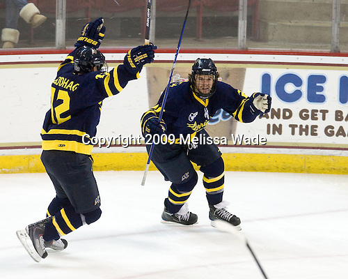 Brandon Brodhag (Merrimack - 12), Jeff Velleca (Merrimack - 28) - The Boston College Eagles defeated the Merrimack College Warriors 4-3 on Friday, October 30, 2009, at Conte Forum in Chestnut Hill, Massachusetts.