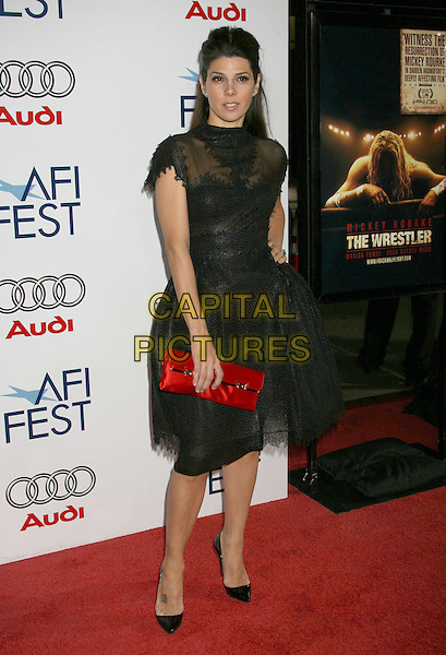 "MARISA TOMEI.""The Wrestler"" AFI Fest 2008 Centerpiece Gala Screening held at Grauman's Chinese Theatre, Hollywood, California, USA..November 6th, 2008.full length dress red clutch bag black sheer .CAP/ADM/MJ.©Michael Jade/AdMedia/Capital Pictures."