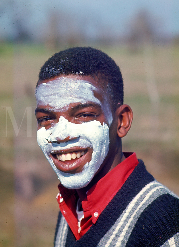 """Selma to Montgomery March for voting rights. Selma marchers applied zinc oxide to prevent sunburn. Some found it funny to be """"white for a day."""" Civil Rights. Black. African American. Alabama."""