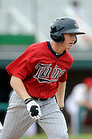 Designated hitter Tanner English (23) of the Elizabethton Twins in a game against the Johnson City Cardinals on Sunday, July 27, 2014, at Howard Johnson Field at Cardinal Park in Johnson City, Tennessee. The game was suspended due to weather in the fifth inning. (Tom Priddy/Four Seam Images)