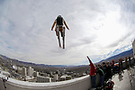 Squaw Valley team freeride team member J.T. Holmes launches over the rail of the Silver Legacy during an urban Ski-BASE jump off the roof of the Silver Legacy hotel casino in downtown Reno, Nev., Saturday Nov. 17, 2007. The stunt was to promote the local premier of the 2007 Warren Miller ski movie Playground and to raise money for the Make-a-Wish foundation, which helps make wishes come true for seriously ill children.