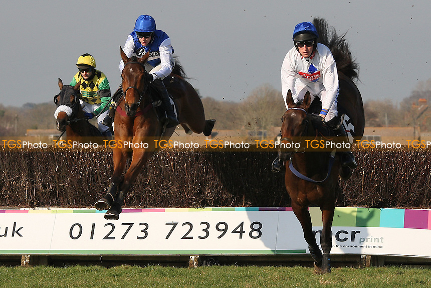 Kitchen Loan ridden by Sam Jones (R) jumps ahead of race winner Relax ridden by Aidan Coleman in the SVS Securities Preferred Partnership For IFAs Novices Handicap - Horse Racing at Plumpton Racecourse, East Sussex - 12/03/12 - MANDATORY CREDIT: Gavin Ellis/TGSPHOTO - Self billing applies where appropriate - 0845 094 6026 - contact@tgsphoto.co.uk - NO UNPAID USE.