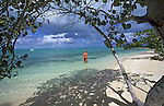 Girl on beach, Andros Island, Bahamas, Out Islands