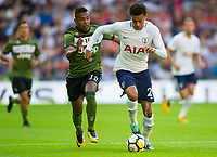 Juventus Alex Sandro Lobo Silva and Tottenham's Dele Alli during the pre season friendly match between Tottenham Hotspur and Juventus at White Hart Lane, London, England on 5 August 2017. Photo by Andrew Aleksiejczuk / PRiME Media Images.