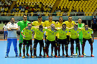 CALI -COLOMBIA, 11-09-2016. Formación de la selección Colombia de futsal Fifa 2016. La selección de Futsal de Paraguay eliminó a Colombia del Mundial Futsal Fifa Colombia  2016 jugado en el Coliseo del Pueblo en Cali, Colombia. /  Team of FIFA Futsal of Colombia .The selection of Paraguay won Futsal and eliminated Colombia  of Colombia Fifa Futsal World 2016 played at the Coliseo del Pueblo in Cali, Colombia ./A. Photo:VizzorImage / Nelson Rios  / Cont