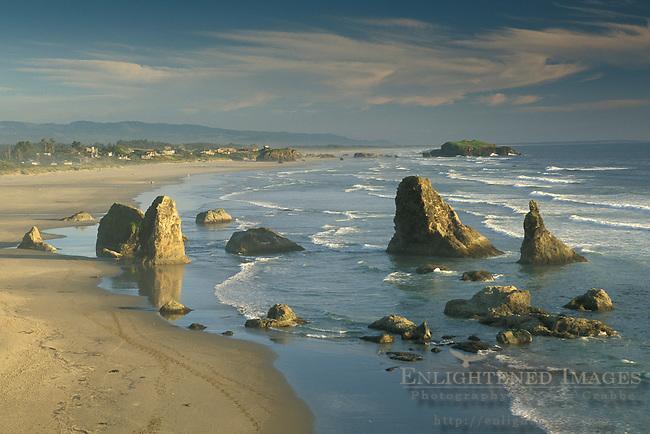 Overlooking coastal rock sea stacks, ocean waves, and sand beach, Bandon State Beach, Oregon