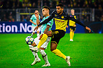 05.11.2019, Signal Iduna Park, Dortmund , GER, Champions League, Gruppenphase, Borussia Dortmund vs Inter Mailand, UEFA REGULATIONS PROHIBIT ANY USE OF PHOTOGRAPHS AS IMAGE SEQUENCES AND/OR QUASI-VIDEO<br /> <br /> im Bild | picture shows:<br /> Zweikampf | Duell zwischen Lautaro Martinez (Inter #10) und Manuel Akanji (Borussia Dortmund #16), <br /> <br /> Foto © nordphoto / Rauch