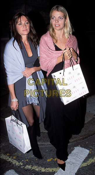 JEMMA KIDD.leaving the Elle Party.pink shawl, goody bag, goodie bag.www.capitalpictures.com.sales@capitalpictures.com.© Capital Pictures.