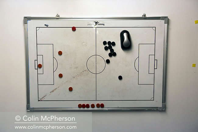 Home team tactics board in the dressing room at Meadowbank Stadium in Edinburgh, before Edinburgh City played host to Spartans in a Lowland League fixture. The host won the match 1-0 with a late goal by Ousman See, despite playing for the last 30 minutes with 10 men after Ross Allum was sent off. The wind kept the reigning champions side clear at the top of the league.