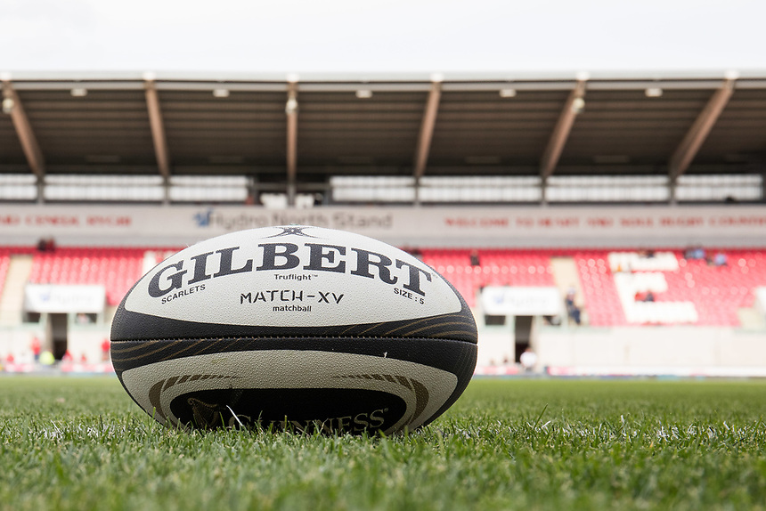 A general view of Parc Y Scarlets, home of Scarlets view of the match ball<br /> <br /> Photographer Simon King/CameraSport<br /> <br /> Guinness Pro14 Round 1 - Scarlets v Southern Kings - Saturday 2nd September 2017 - Parc y Scarlets - Llanelli, Wales<br /> <br /> World Copyright &copy; 2017 CameraSport. All rights reserved. 43 Linden Ave. Countesthorpe. Leicester. England. LE8 5PG - Tel: +44 (0) 116 277 4147 - admin@camerasport.com - www.camerasport.com