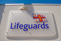 Friday  13  June  2014<br /> <br /> Pictured:  Lifeguard Sign on LLangrannog Beach, Ceridigion, Wales <br /> Re: Views of Llangrannog, Ceredigion, Wales UK