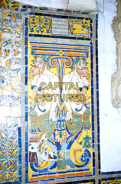 San Francisco baroque church and monastery, tiled panel in the cloisters, Lima, Peru