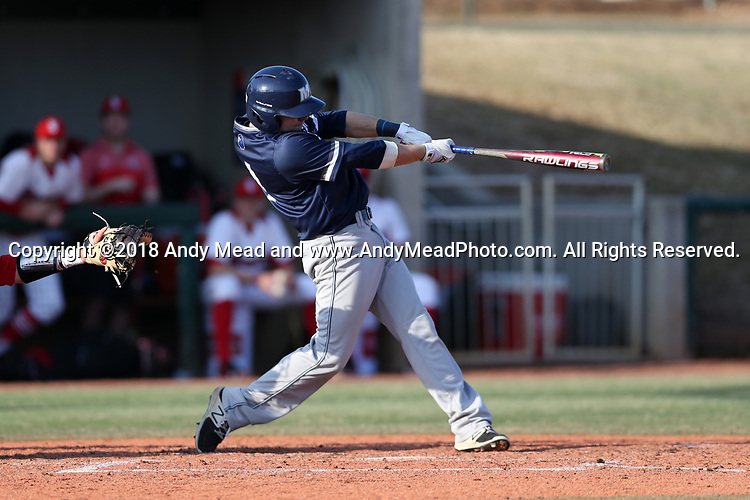 CARY, NC - FEBRUARY 23: Monmouth's Kyle Norman. The Monmouth University Hawks played the Saint John's University Red Storm on February 23, 2018 on Field 2 at the USA Baseball National Training Complex in Cary, NC in a Division I College Baseball game. St John's won the game 3-0.
