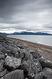 USA, Alaska, Homer, a view of the Kenai Mountains and Kachemak Bay from the Homer Spit