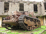 Palau, Micronesia -- Rusty tank, a World War II relic.<br />