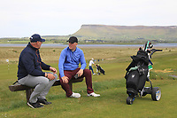 Gary Cullen (Portmarnock Links) and Eoin Murphy (Dundalk) on the 12th tee during the Flogas Irish Amateur Open Championship 2019 at the Co.Sligo Golf Club, Rosses Point, Sligo, Ireland. 15/05/19<br /> <br /> Picture: Thos Caffrey / Golffile<br /> <br /> All photos usage must carry mandatory copyright credit (© Golffile | Thos Caffrey)