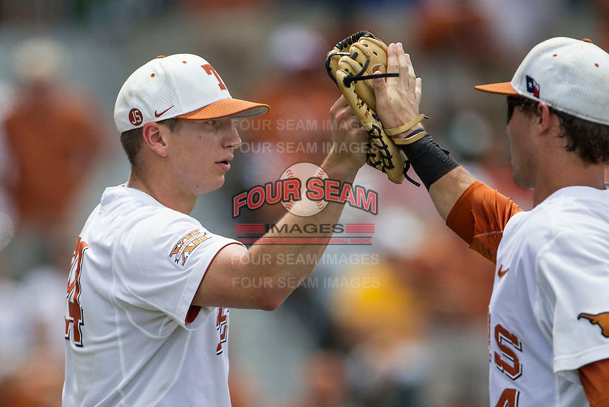 Texas Longhorns starting pitcher Parker French (24) during the NCAA Super Regional baseball game against the Houston Cougars on June 7, 2014 at UFCU Disch–Falk Field in Austin, Texas. The Longhorns are headed to the College World Series after they defeated the Cougars 4-0 in Game 2 of the NCAA Super Regional. (Andrew Woolley/Four Seam Images)