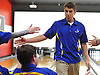 Alex Cruz of Kellenberg gets congratulated by teammates after rolling five consecutive strikes in his second game of a CHSAA boys bowling match against St. Anthony's at AMF Garden City Lanes on Monday, Jan. 9, 2017. He bowled a 246 in the game.