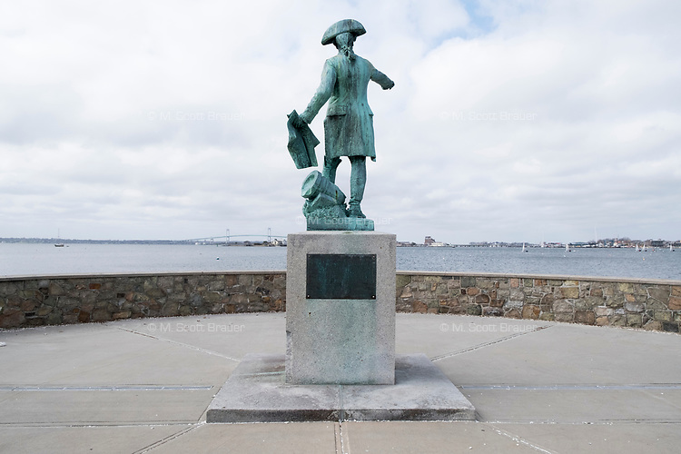 A statue of French General Jean-Baptiste Donatien de Vimeur, comte de Rochambeau stands in a park on the southern edge of Newport Harbor in Newport, Rhode Island, seen here on Wed., April 19, 2017. Rochambeau assisted the American colonies during the American Revolution.