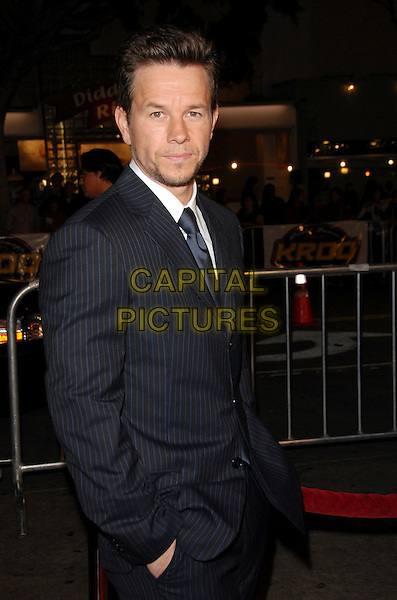 """MARK WAHLBERG (wearing Armani).The Paramount Pictures L.A. Premiere of """"Shooter"""" held at The Mann Village Theatre in Westwood, California, USA..March 8th, 2007.half length black blue pinstripe suit jacket .CAP/DVS.©Debbie VanStory/Capital Pictures"""