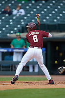 J.C. Flowers (8) of the Florida State Seminoles at bat against the Notre Dame Fighting Irish in Game Four of the 2017 ACC Baseball Championship at Louisville Slugger Field on May 24, 2017 in Louisville, Kentucky. The Seminoles walked-off the Fighting Irish 5-3 in 12 innings. (Brian Westerholt/Four Seam Images)