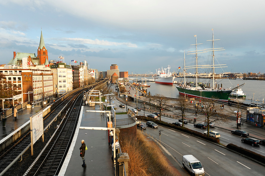 Hamburg's Elbe River waterfront, Germany