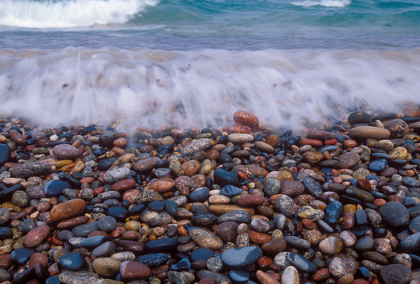 Lake Superior waves and stones on Twelvemile Beach in Pictured Rocks National Lakeshore near Grand Marais, Mich.