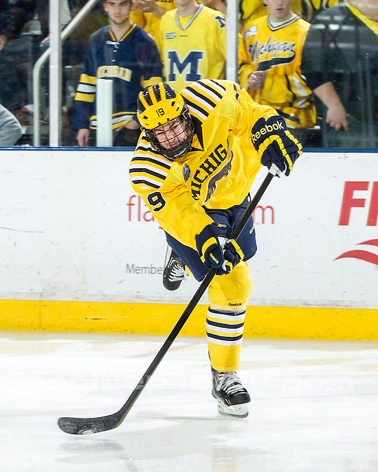 The University of Michigan ice hockey team lost to Notre Dame, 4-1, during the Yost Ice Arena Rededication game in Ann Arbor, Mich., on November 16, 2012.