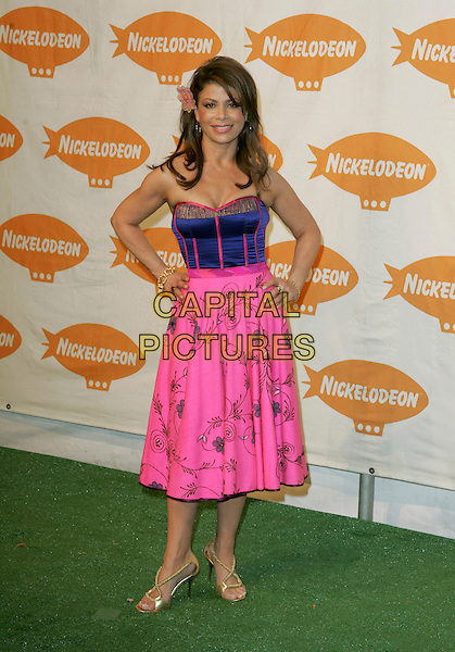PAULA ABDUL.Nickelodeon's 18th Annual Kids' Choice Award Show held at UCLA's Pauley Pavilion in Westwood, California .April 2nd, 2005.full length blue corset silk satin pink skirt hands on hips gold sandals.www.capitalpictures.com.sales@capitalpictures.com.Supplied By Capital PIctures