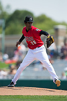 Billings Mustangs starting pitcher Jhon De Jesus (28) in action against the Missoula Osprey at Dehler Park on August 20, 2017 in Billings, Montana.  The Osprey defeated the Mustangs 6-4.  (Brian Westerholt/Four Seam Images)
