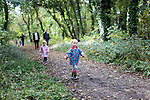 Autumnal family walk in the woods, Fort Victoria, Yarmouth, Isle of Wight.