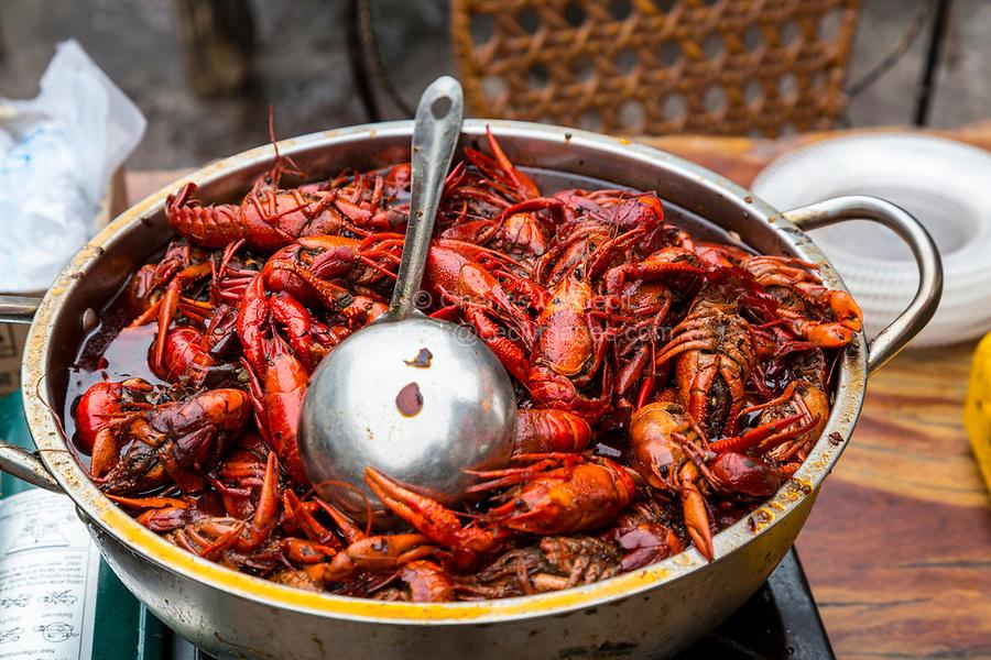 Guilin, China.  Crayfish (Crawfish) at a Street Food Stand.