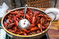 Guilin, China.  Crayfish (Crawfish) at a Street Food Stand.