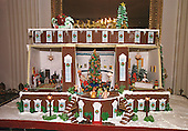 Washington, DC - December 4, 2000 -- General view of the 2000 traditional gingerbread house in the State Dining Room created by Chef Roland Mesnier and the White House pastry chefs on December 4, 2000.  For Christmas 2000 Chef Mesnier has crafted depictions of the State Dining Room, Blue Room, and East Room - all decorated with themes of past Christmases at the Clinton White House.  This entirely edible work of art incorporates miniature replicas of the Chef's last seven gingerbread houses..Credit: Ron Sachs - CNP