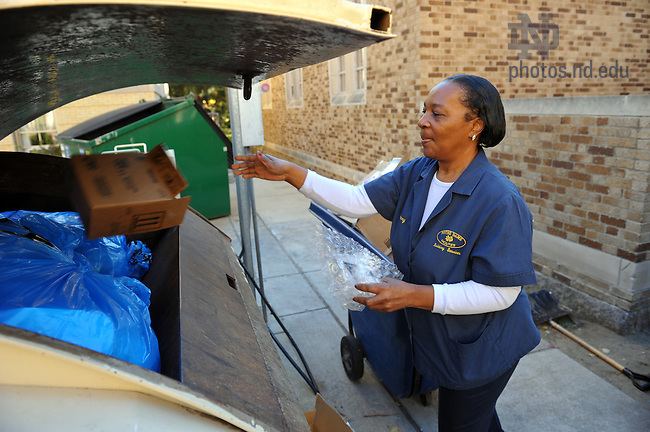 Nov. 2, 2010; Residence hall recycling & housekeeping..Photo by Matt Cashore/University of Notre Dame