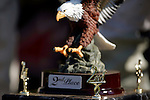 The second place trophy sits on the podium at the Unadilla Valley Sports Center in New Berlin, New York on July 16, 2006, during the AMA Toyota Motocross Championship.