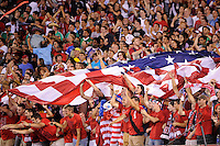 United States fans celebrate a goal. The men's national teams of the United States (USA) and Mexico (MEX) played to a 1-1 tie during an international friendly at Lincoln Financial Field in Philadelphia, PA, on August 10, 2011.