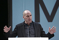 Yianis Varoufakis speaks at the Mera25 Diem political party convention at the Ilissia Theatre, Athens, Greece. Monday 26 March 2018