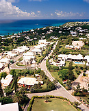 BERMUDA, Southampton Parish, elevated view of cityscape with sea from the top of the Gibbs Hill LIghthouse