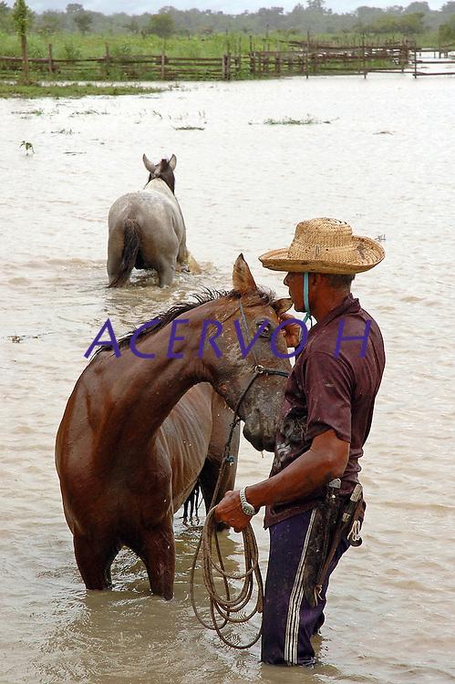 Vaqueiro lava  seu cavalo, fazenda Tuiuiu.<br /> Cachoeira do Arari, Par&aacute;, Brasil.<br /> 08/05/2006<br /> Foto Paulo Santos/Interfoto