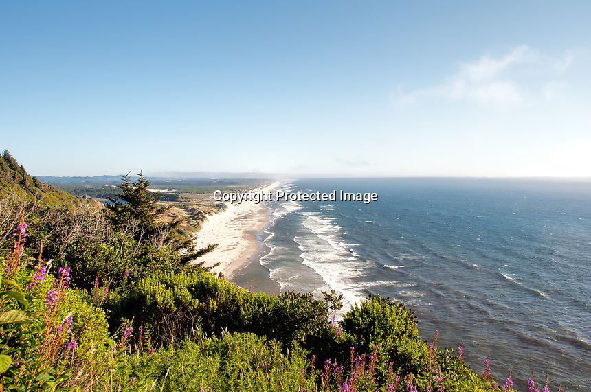 An overlooking summer view of Heceta Beach and the Florence, Oregon area.