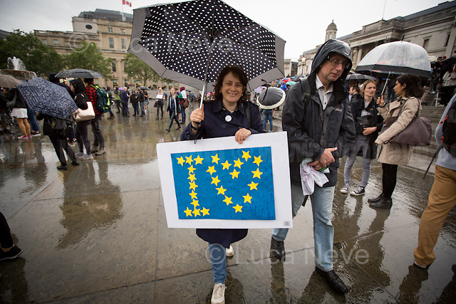 London, 28/06/2016. Today, around 5PM, thousands of members of the public gathered in Trafalgar Square under rain showers to protest against the EU Referendum result which is leading the United Kingdom to the so called &quot;Brexit&quot;, in other words to leave the European Union. Around 7:30PM, people started to march spontaneously and peacefully towards Parliament Square. The demonstration ended around 9:30PM in College Green, a little park outside the Houses of Parliament where all the major media set up their portable studios and where politicians, analysts, commentators, experts and others give interviews about the outcome of the recent Referendum, the fallout and to try to forecast the future. While reported on the Channel 4 news that most protestors were 18+ (Which you can find here: https://www.facebook.com/Channel4News/videos/10153853076771939/ ), this was not actually the case. Protestors of all ages were present in significant numbers representing all the generations of the population. Previously, another planned demonstration called &quot;Stand Together: London event&quot; was cancelled &lt;&lt; [&hellip;] on safety grounds after an &quot;unprecedented&quot; response from Londoners. More than 50,000 people were expected to attend a London Stays rally this evening to show that &quot;London stands with Europe&quot;. But organisers today confirmed the protest was cancelled due to safety concerns. City Hall also said the protest had been blocked because the number of people who were planning to attend exceeded Trafalgar Square's safe limit by 40,000. [&hellip;]&gt;&gt; (From the Evening Standard, 28 June 2016, http://www.standard.co.uk/news/london/trafalagar-square-proremain-rally-cancelled-for-safety-reasons-after-more-than-50000-people-sign-up-a3283086.html ).<br /> <br /> For more information about the demo please click here: https://www.facebook.com/events/1042459869178536/?active_tab=posts