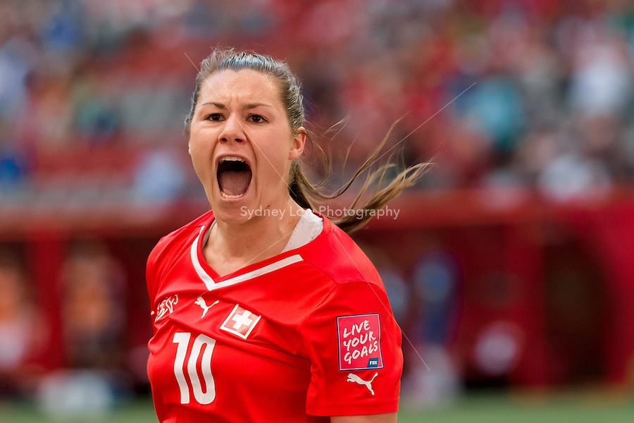 June 12, 2015: Ramona BACHMANN of Switzerland celebrates her goal during a Group C match at the FIFA Women's World Cup Canada 2015 between Switzerland and Ecuador at BC Place Stadium on 12 June 2015 in Vancouver, Canada. Switzerland won 10-1. Sydney Low/AsteriskImages
