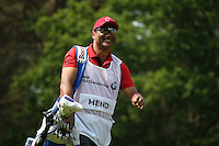 Scott Hend (AUS) caddie Jason Jacobs leaving the 8th tee very happy during Round Three of the 2016 BMW PGA Championship over the West Course at Wentworth, Virginia Water, London. 28/05/2016. Picture: Golffile   David Lloyd. <br /> <br /> All photo usage must display a mandatory copyright credit to © Golffile   David Lloyd.