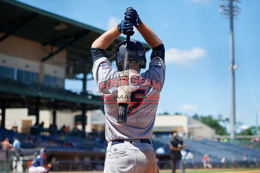 Jacksonville Jumbo Shrimp Brian Miller (5) warms up on deck during a Southern League game against the Mississippi Braves on May 5, 2019 at Trustmark Park in Pearl, Mississippi.  Mississippi defeated Jacksonville 1-0 in ten innings.  (Mike Janes/Four Seam Images)