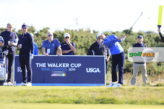 Cole Hammer (USA) on the 4th tee during the final day foursomes matches at the Walker Cup, Royal Liverpool Golf Club, Hoylake, Cheshire, England. 08/09/2019.<br /> Picture Fran Caffrey / Golffile.ie<br /> <br /> All photo usage must carry mandatory copyright credit (© Golffile   Fran Caffrey)